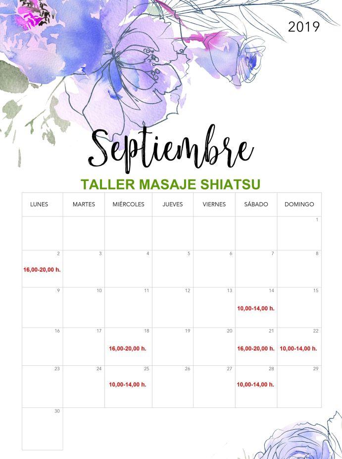 Taller Masaje Shiatsu Septiembre fechas