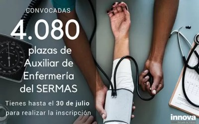 Convocadas 4.080 plazas de Auxiliar de Enfermería del SERMAS