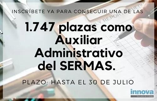 Consigue una de las 1.747 plazas de Auxiliar Administrativo del SERMAS