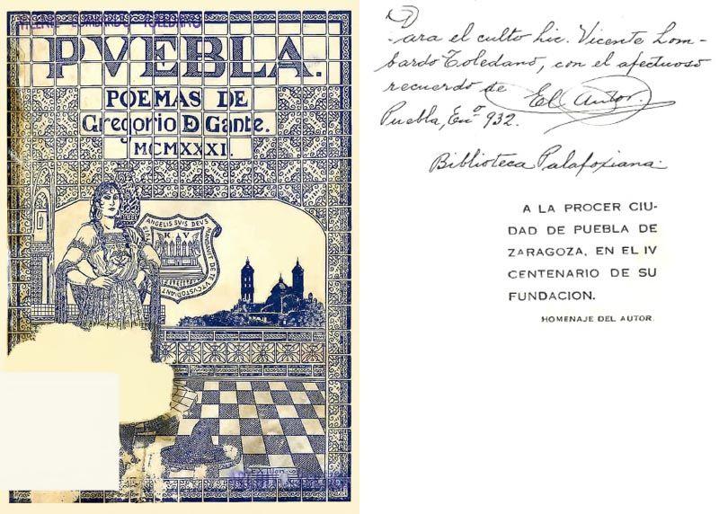 Portada dedicada del libro Gante, Gregorio de. Poemas. Puebla: Editora Azteca, 1933.