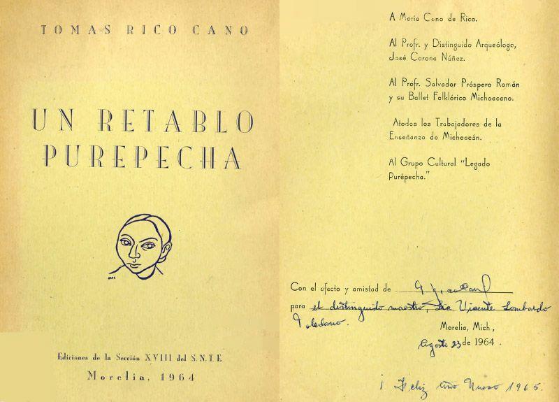 Portada del libro: Rico Cano, Tomás. Un retablo purépecha. Morelia, Michoacán, México: Ediciones de la Sección XVIII del S.N.T.E., 1964.