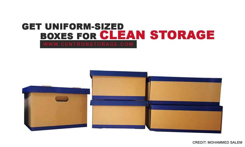 Get uniform-sized boxes for clean storage