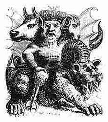 Asmodeo nella raffigurazione del Dictionnaire Infernal di Collin de Plancy.