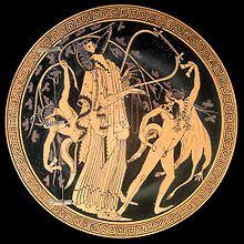 Dionysos et son thiase, médaillon d'un kylix du Peintre de Brygos, vers 480 av. J.-C., Cabinet des médailles de la Bibliothèque nationale de France.