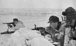 Postazione difensiva norvegese sul fronte di Leningrado