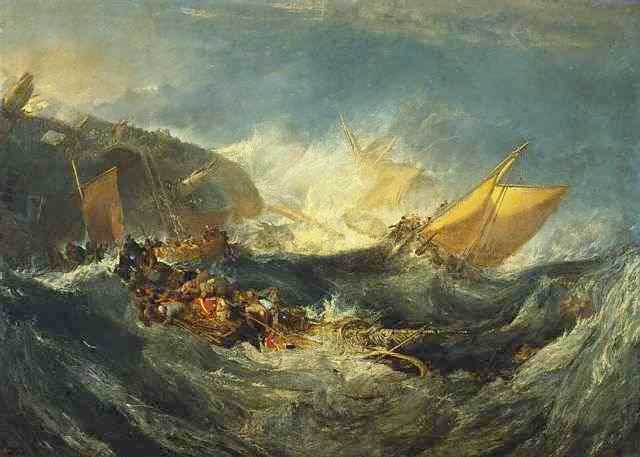 William Turner, Shipweck of the Minotaur, pittura a olio, Calouste Gulbenkian Museum, Lisbona.