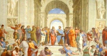 Raffaello Sanzio, La scuola di Atene (1509-1511). Musei Vaticani, Città del Vaticano