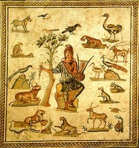 Orfeo circondato dagli animali. Mosaico pavimentale romano, da Palermo. Museo archeologico regionale di Palermo.