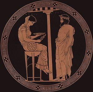 Egeo, mitico re di Atene, consulta la Pizia assisa sul bacile del tripode. Un'iscrizione la identifica come Temi. Tondo di una kylix attica a figure rosse del 440-430 a.C.. Opera del ceramografo Kodros (Antikensammlung di Berlino, Berlin Mus. 2538).
