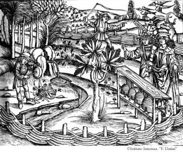 """Virgilio illustra a Mecenate l'apicoltura. Da Verg., Opera, Lugduni 1529 (in Typographaria Officina Ioannis Crespini); da Fondazione Istituto Internazionale di Storia Economica """"F. Datini""""."""