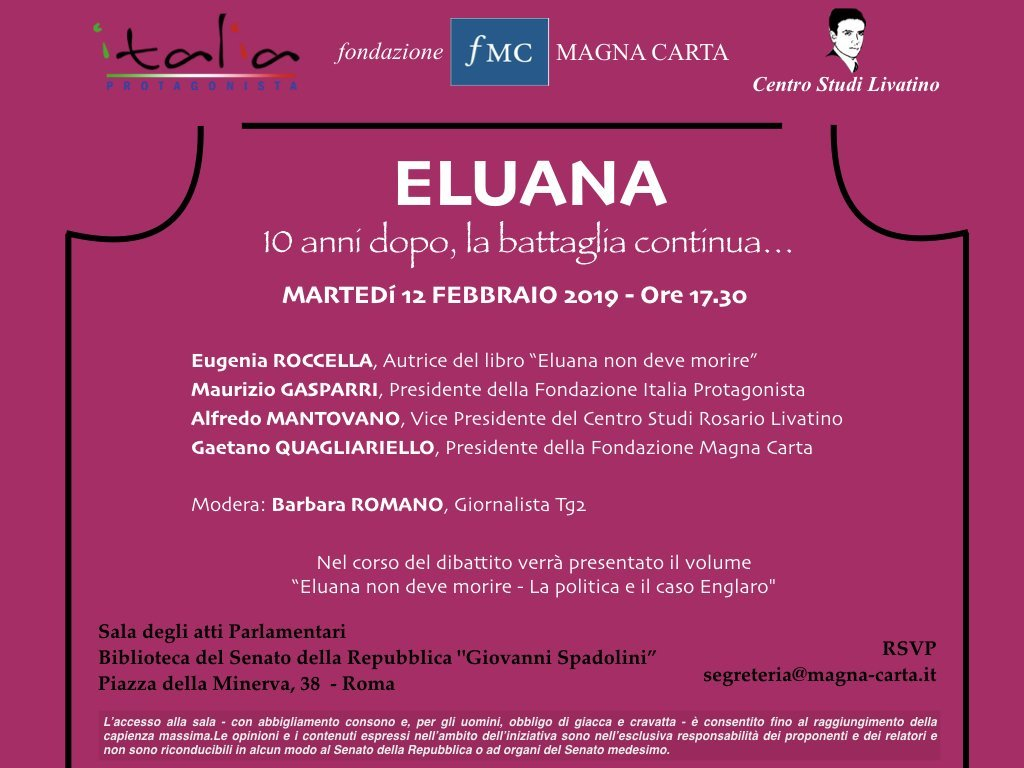 Invito presentazione libro su Eluana Englaro