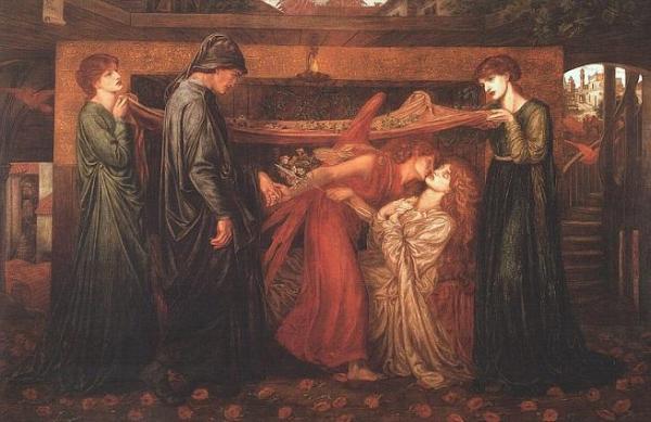 Il sogno di Dante al momento della morte di Beatrice- un'opera di Dante Gabriel Rossetti