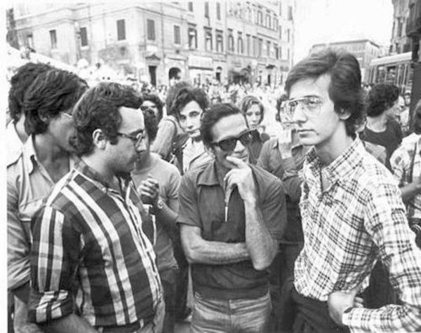 Pasolini a lcentra tra Fernando Adornato e Valter Veltroni (1968)