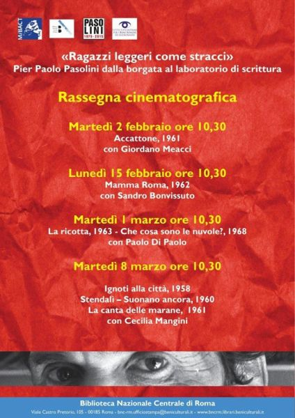 Rassegna Pasolini alla Biblioteca Nazionale Centrale di  Roma. Locandina