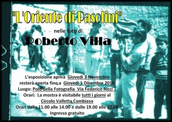 """""""L'Oriente di Pasolini nelle foto di Roberto Villa"""" a Genova. Manifesto"""