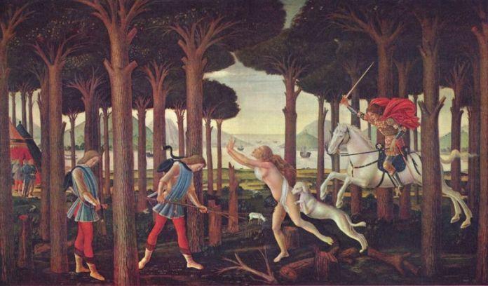 Nastagio degli Onesti est le protagoniste de la huitième nouvelle de la cinquième journée du Décaméron de Boccace écrit entre 1348 et 1351, intitulée «L'enfer pour les amoureux cruels» dédiée aux amours d'abord malheureuses puis se terminant de manière heureuse.