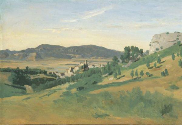 """Jean Baptiste-Camille Corot, """"Veduta di Olevano"""" (1827)"""