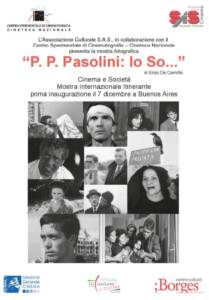 """""""P.P.Pasolini: Io So..."""", a Buenos Aires. Locandina"""