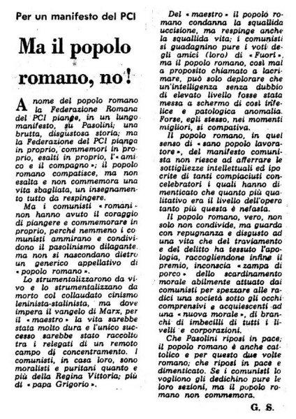 """""""Il Secolo d'Italia"""" del 7 novembre 1975 contro il PCI di Roma e il cordoglio per la morte di Pasolini"""