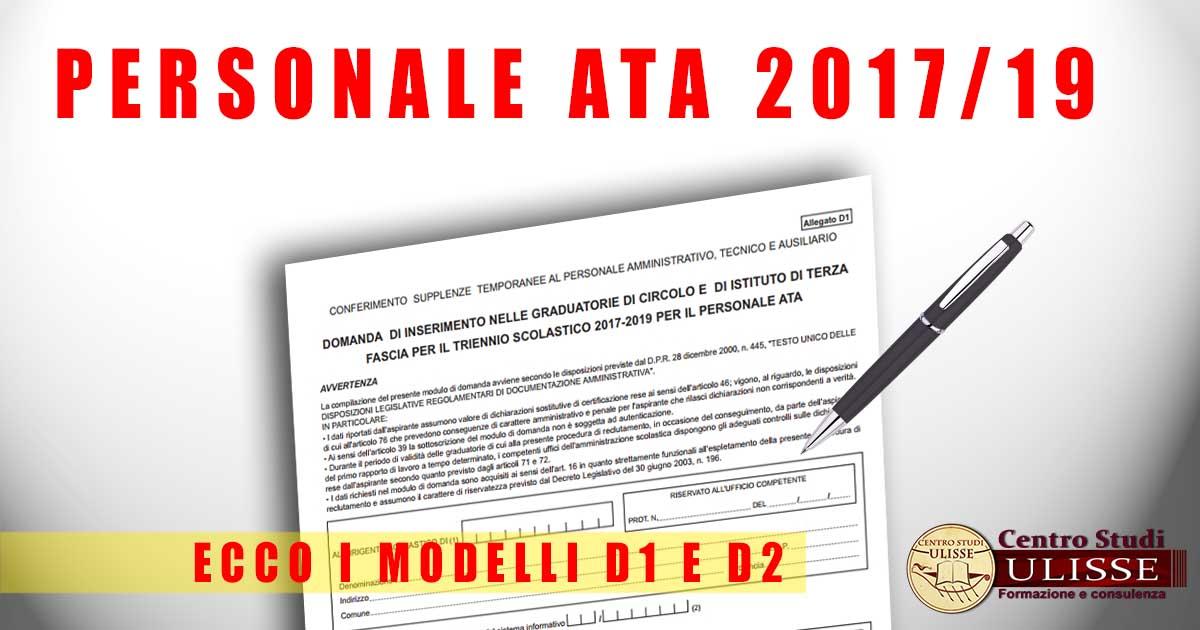 Modelli D1 E D2 Per Domande Ata Della Terza Fascia