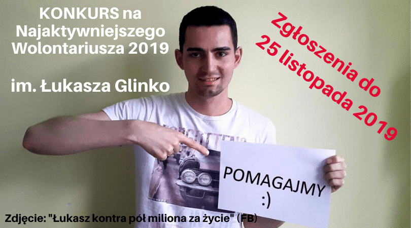 Zgłoś kandydatkę, kandydata do Konkursu na Najaktywniejszego Wolontariusza 2019