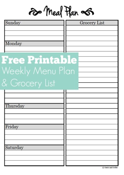 Free Weekly Meal Planner Printable. Plan breakfast, lunch, and dinner for the week and it includes a grocery list! Save money by grocery shopping with a plan.