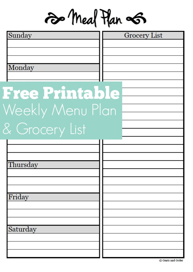 Meal Planning: Free Weekly Menu Planner Printable