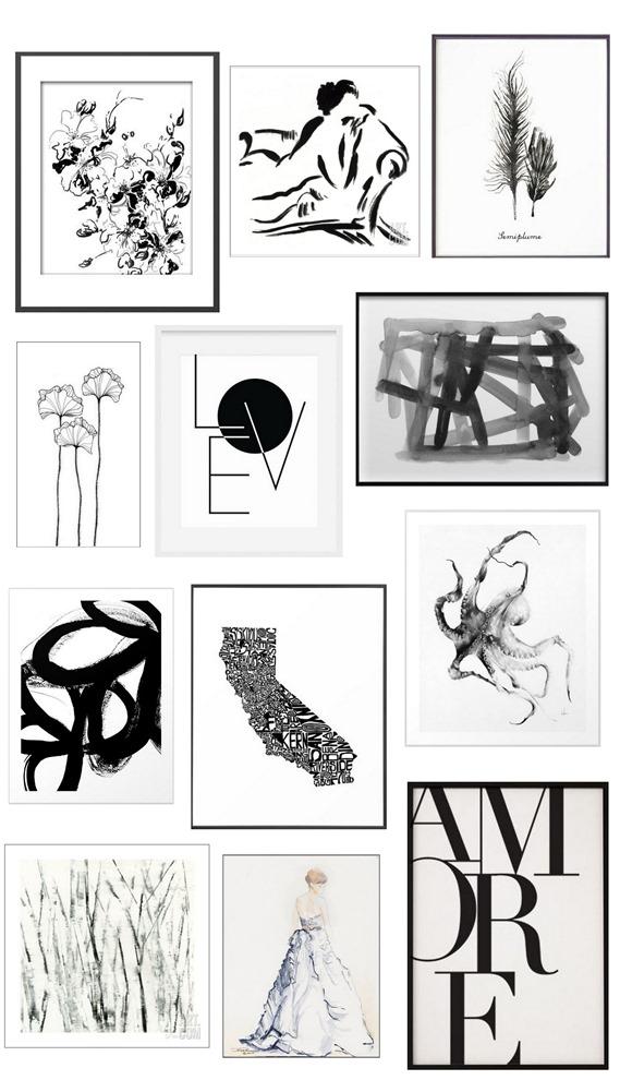black and white art prints