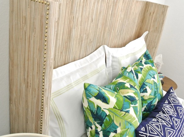 grasscloth headboard nailhead trim
