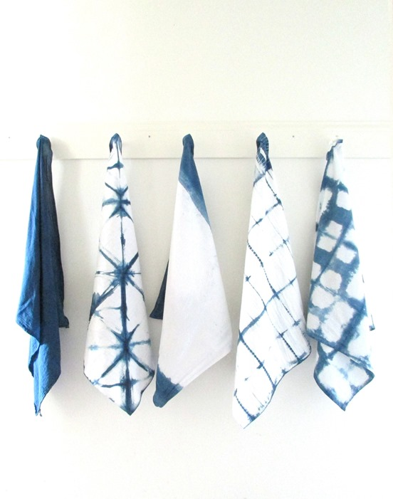 indigo dye tea towels