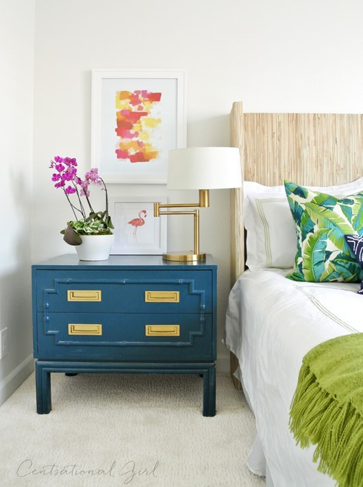 peacock blue faux bamboo chest