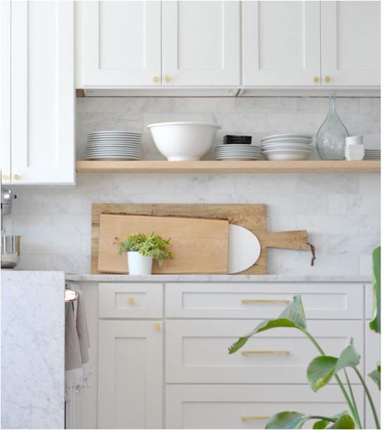 diy floating open kitchen shelving