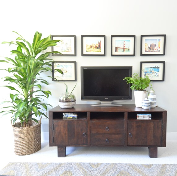 framed pictures around tv on media stand