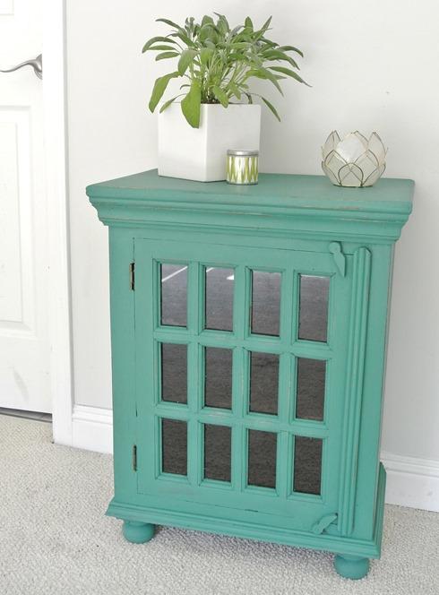 jade green chalk paint cabinet