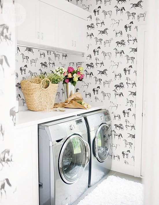 equestrian wallpaper laundry room