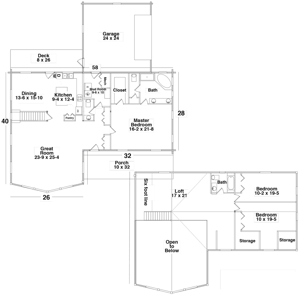 Floor Plan for the PINE TOP by Century Cedar Homes