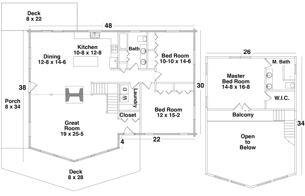 Floor Plan for the SHOW LOW by Century Cedar Homes