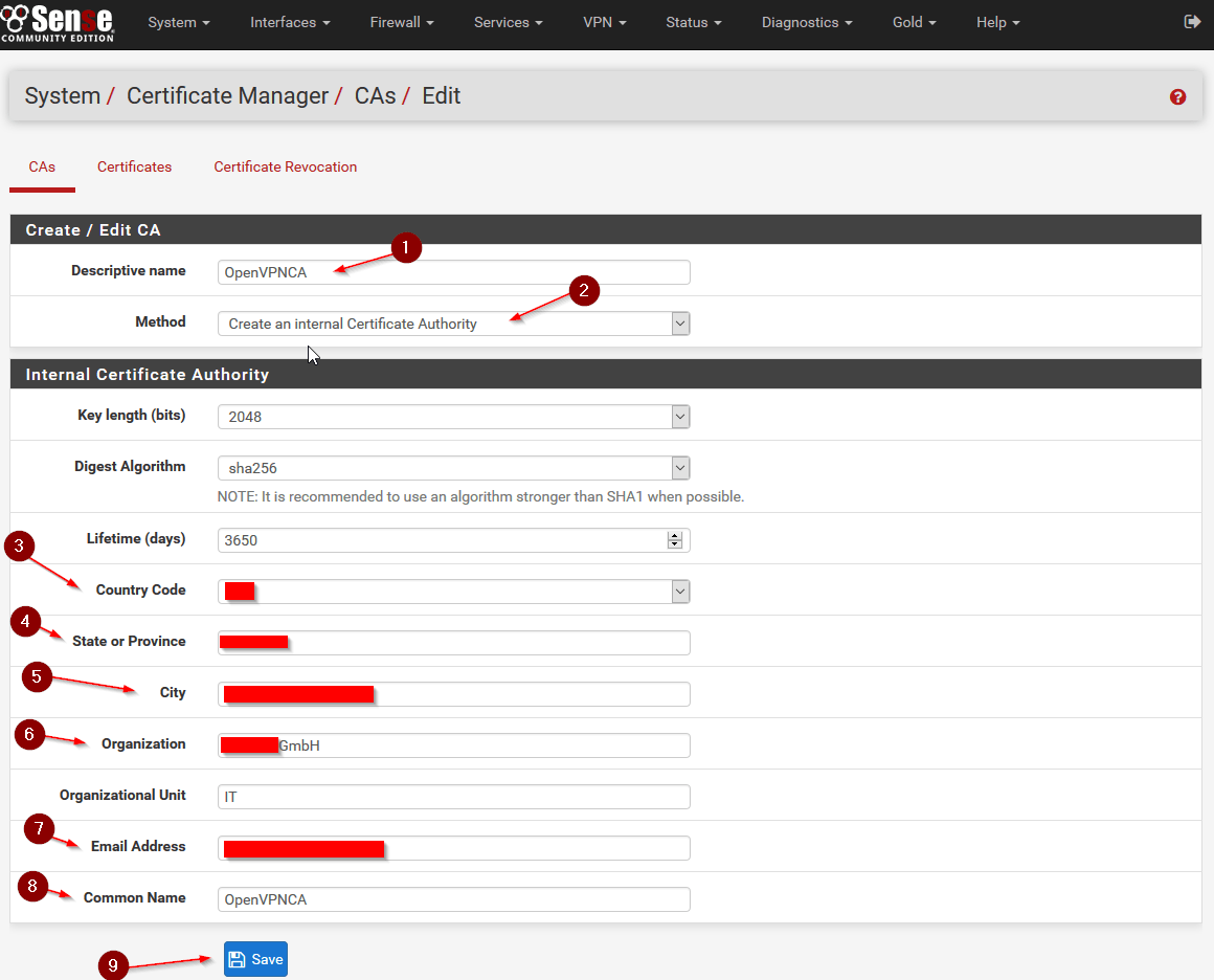 Configure openvpn for pfsense 23 step by step make sure you choose create an internal certificate authority and give it a common name this is the name that will show up in your dropdown later xflitez Image collections