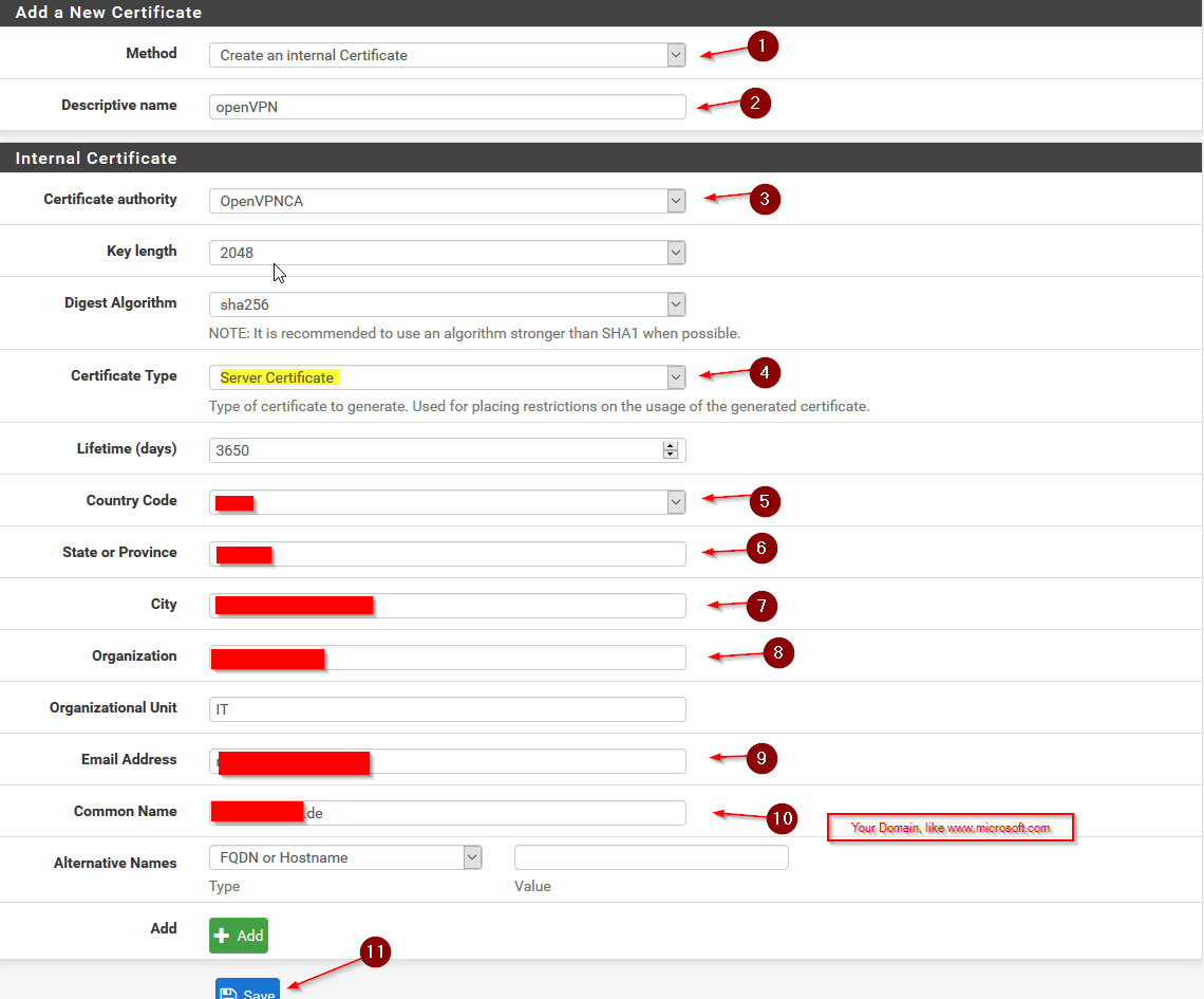 Configure openvpn for pfsense 23 step by step make sure to choose create an internal certificate and choose the openvpnca certificate we just created as the certificate authority xflitez Image collections