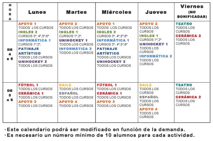 Oferta Educativa Extraescolares 14-15
