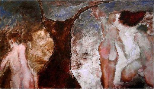 """ROCH - """"Dès le premier matin du monde"""", 1999. Acrylique sur panneau 180 x 100"""