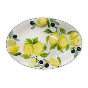 Piatto Ovale Limoni e Olive 32x22 cm