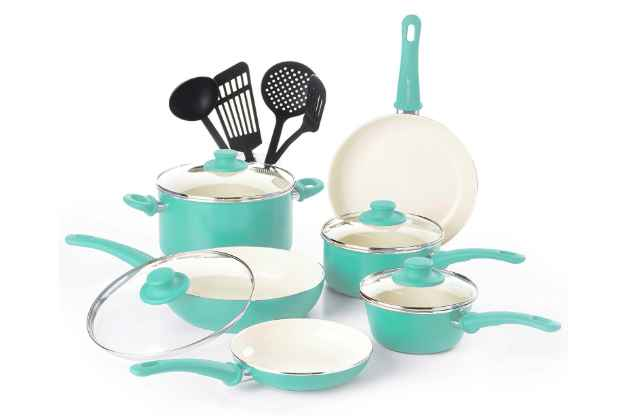 GreenLife CW000531-002 soft grip toxin-free ceramic cookware set