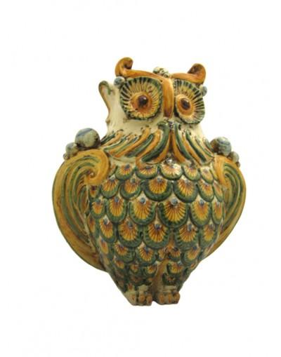 Piatto ottagonale 20x20 decorato a mano in ceramica di caltagirone. Gufo Ceramica Di Caltagirone Ceramiche Anthos Scicli
