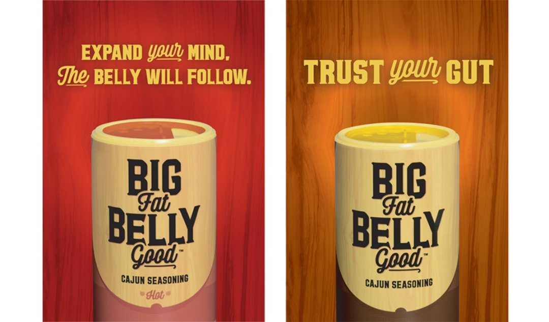 Outdoor campaign ad variations for Big Fat Belly Good Cajun Seasoning blend.