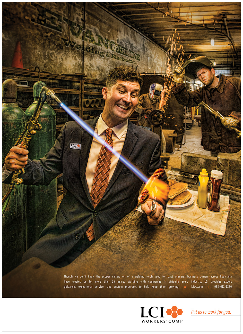 LCI Workers' Comp Advertising Campaign Print Ad shot at New Orleans welding company.