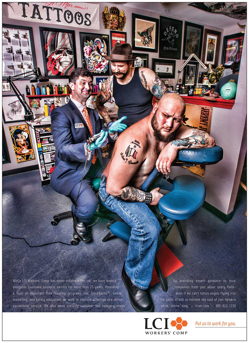 LCI Workers' Comp Print Advertising Ad - Shot at Eye Candy Tattoo