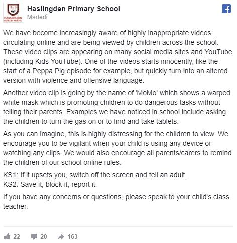 Il primo annuncio di una scuola contro la Momo Challenge