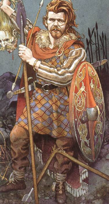 Una pacifica leggenda irlandese: l'auriga di Cu Chulainn che alza la testa mozzata del nemico. Bellissima immagine di Giacinto Gaudenzi, dal ciclo I tarocchi dei Celti