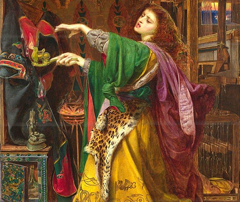Morgana la Fata, probabilmente ispirata alla Morrigan irlandese, immaginata da Frederick Sandys